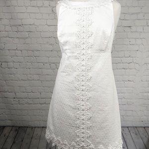 Lily Pulitzer white cotton shift w/ trim 10